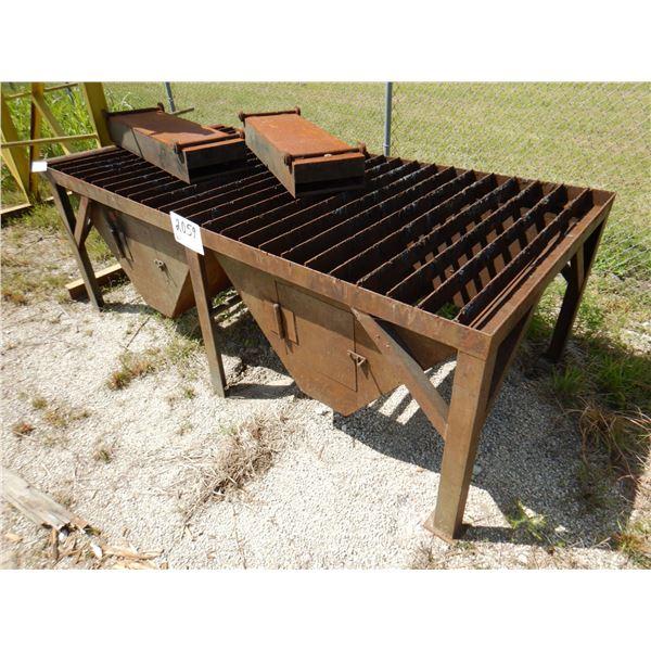 METAL SHOP CATCH PAN TABLE, 8' x 4' x 3'