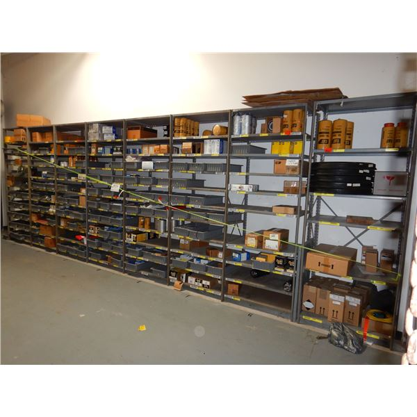 SHELVING UNIT W/ MISC FILTERS, 3' x 2' x 8' (8 SECTIONS)