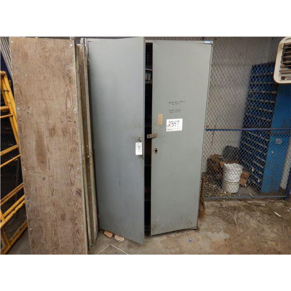 2 DOOR METAL CABINET W/ CONTENTS