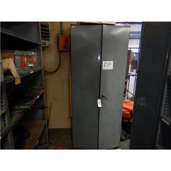 METAL 2 DOOR CABINET W/ CONTENTS