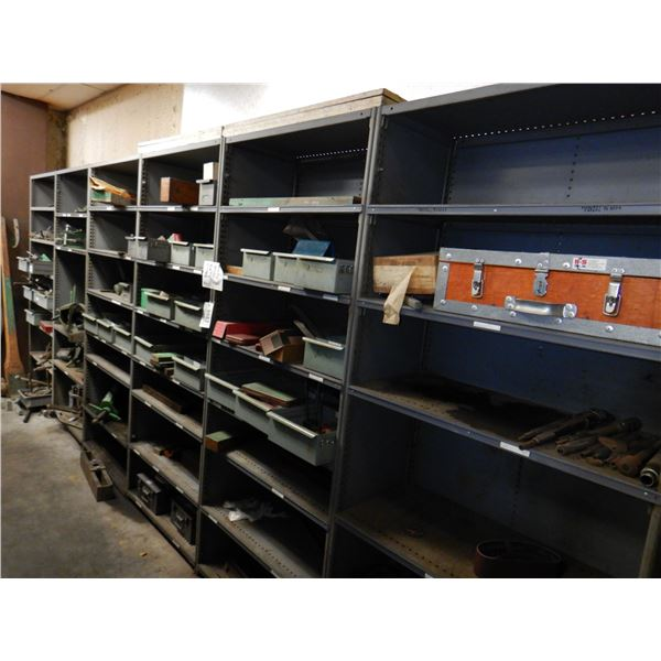 METAL SHELVES W/ CONTENTS, STEEL STAMPS, STARRETT CALIPERS, GEAR AND BEARING PULLERS