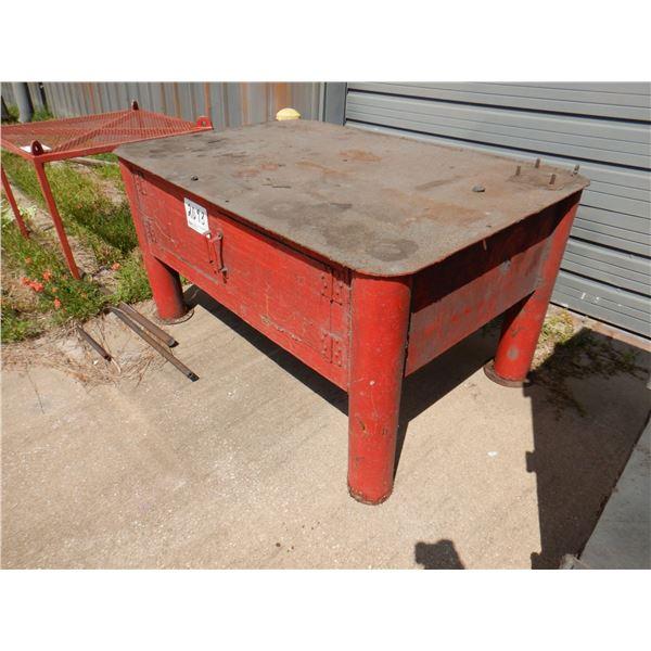 METAL TABLE W/ STORAGE, 6' x 4' x 3'