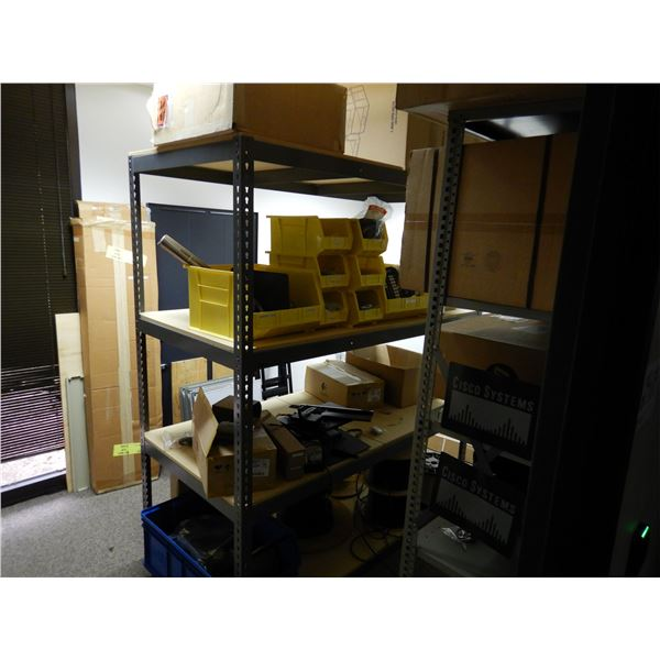 SHELVING W/ CONTENTS, MISC ELECTRONIC COMPONENTS