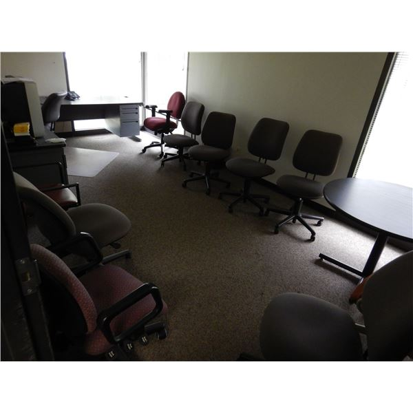DESK, OFFICE CHAIRS