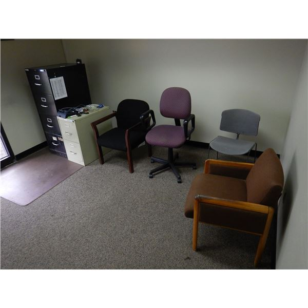 OFFICE CHAIRS, FILING CABINETS