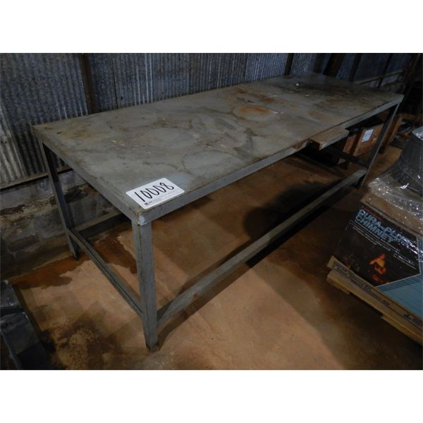 8.5' x 3' METAL SHOP TABLE, Selling Offsite: Located in Birmingham, AL