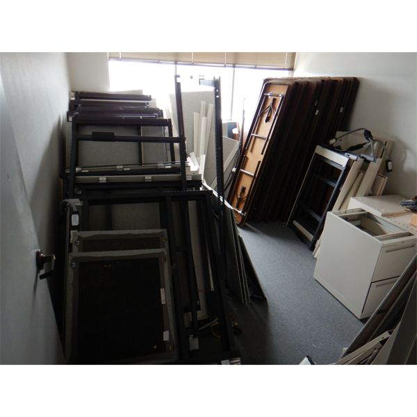 MISC OFFICE FURNITURE- FOLDING TABLES, FILING CABINETS, CUBICLE FRAMES, Selling Offsite: Located in