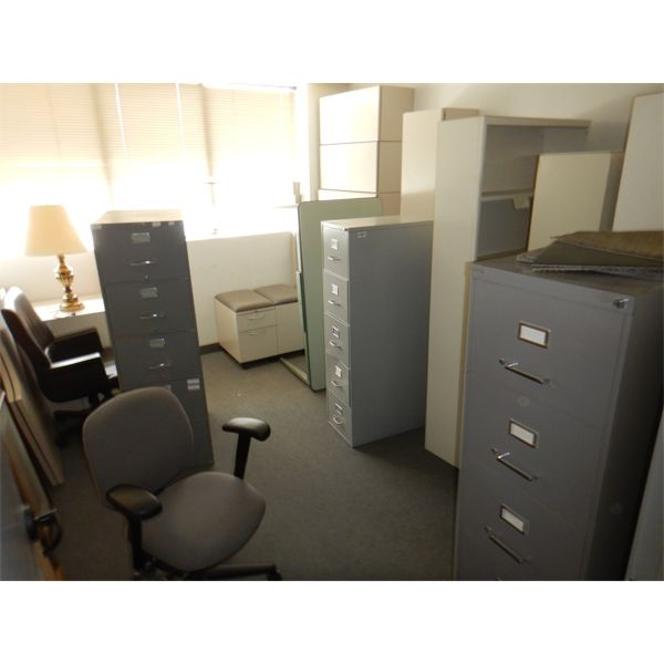 MISC OFFICE FURNITURE- SHELVES, FILING CABINETS, CHAIRS, TABLES, Selling Offsite: Located in Birming