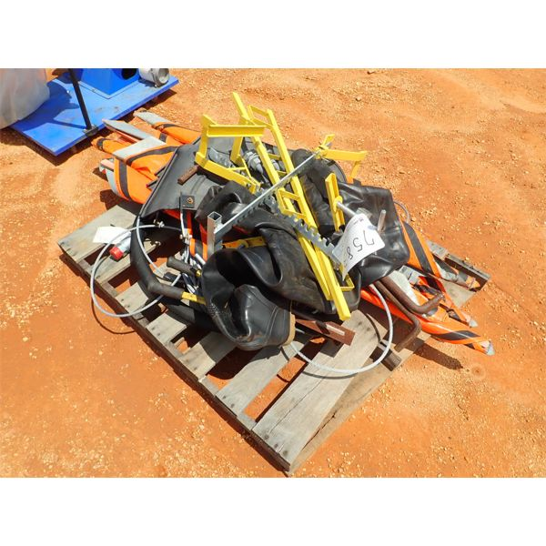 (1) PALLET MISC STEEL CABLE, SIGN, RUBBER BOOTS (B-9)