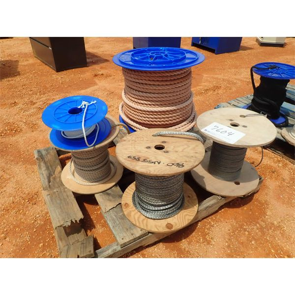 (1) PALLET (6) REEL MISC SIZE ROPE (B-9)