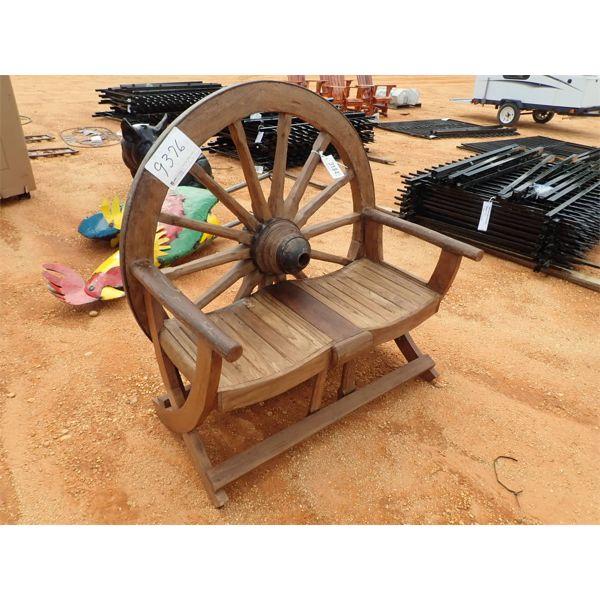 Teakwood wagon wheel bench (C-6)