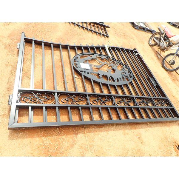 20' wrought iron gate, deer scene (C-6)