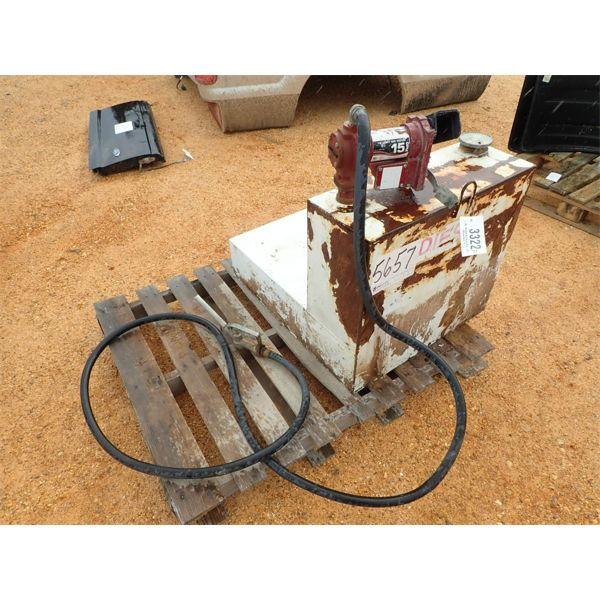 L SHAPE FUEL TANK, 42 GALLON W/ELECTRIC PUMP, HOSE & NOZZLE