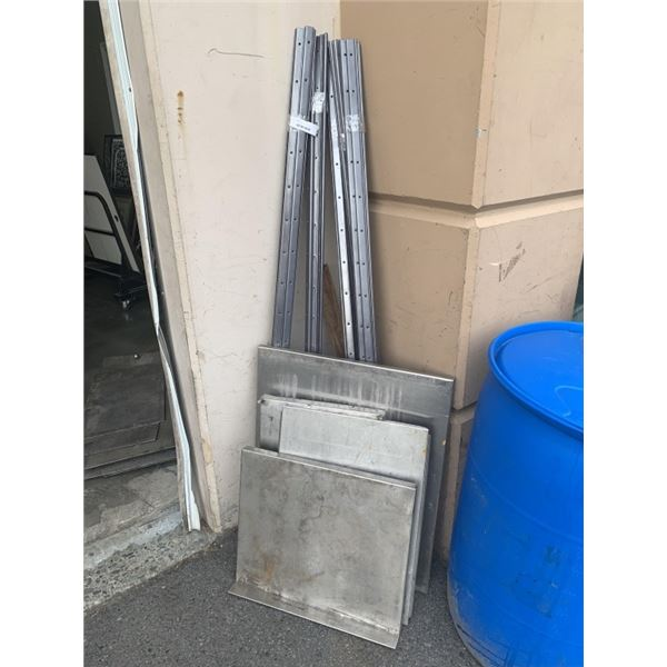 LOT OF METAL SHELVES AND WALL BRACKETS