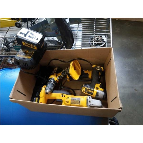 DEWALT CORDLESS TOOLS - IMPACT GUN, FLASHLIGHT, CUTOFF TOOL AND DRILL CHARGER AND BATTERY FOR FLASHL
