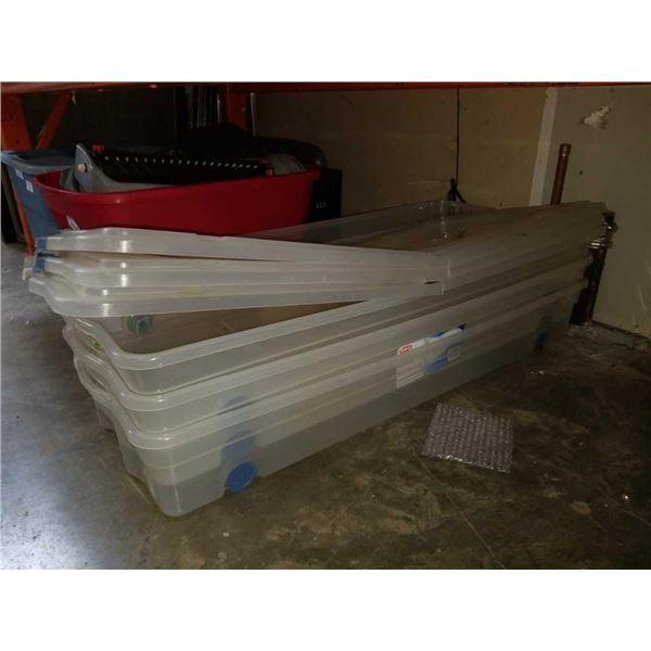 3 GSC plastic underbed storage totes