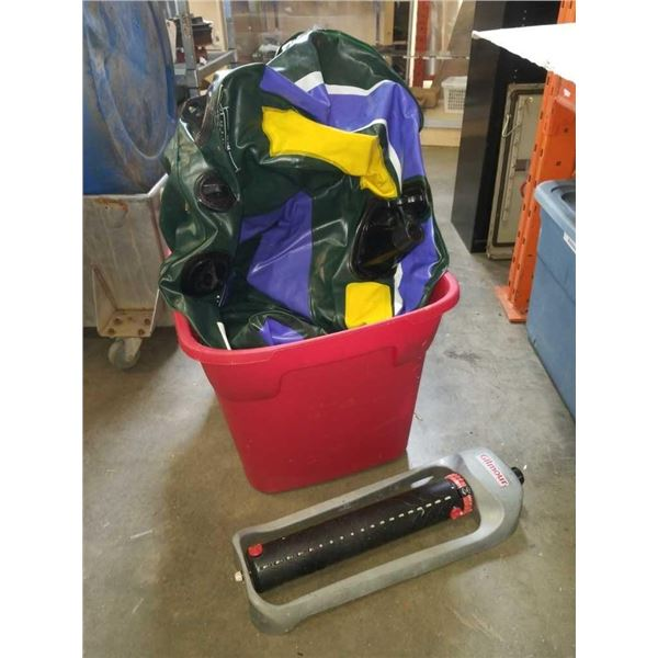 TOTE OF INFLATABLE BOAT AND SPRINKLER