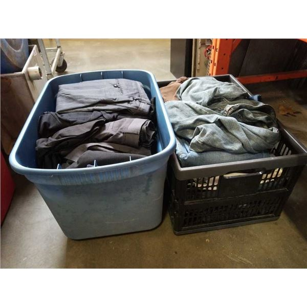 Tote and crate of dress pants and jeans