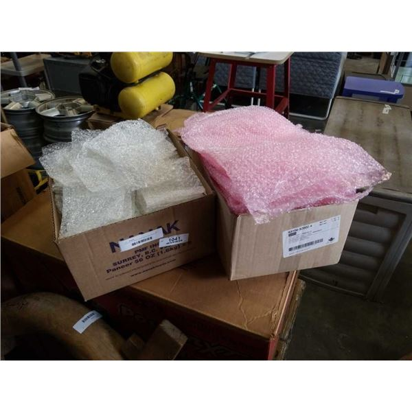 2 BOXES BUBBLE WRAP BAGS AND BOX OF PACKING FOAM