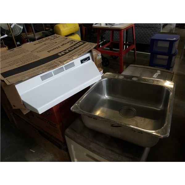 BROAN RANGE HOOD AND STAINLESS SINK