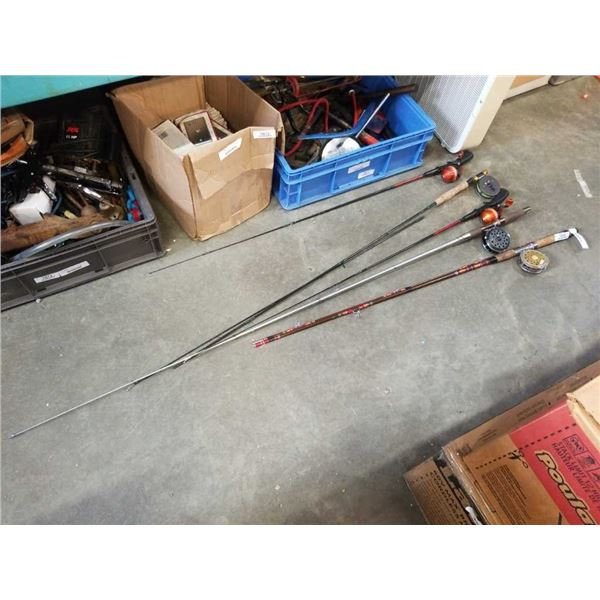 3 FLY FISHING RODS WITH REELS AND 2 FISHING RODS WITH REELS