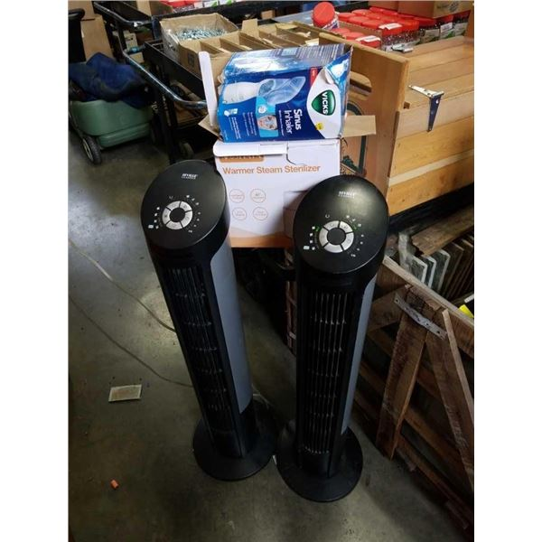 Lot of store return, Seville Classics tower fans, sinus inhaler and sterilizer