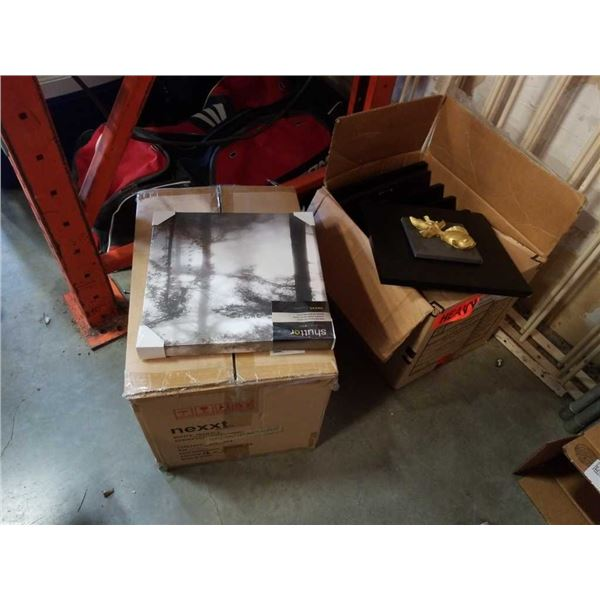 2 boxes of fish plaques and canvas prints