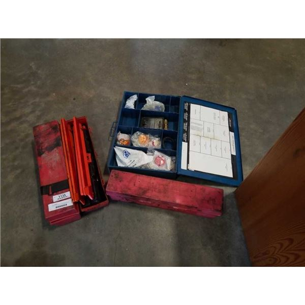 3 sets of road flares and metal organizer with contents