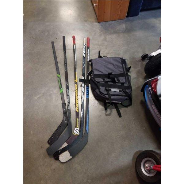 Citypak backpack and 5 left handed hockey sticks