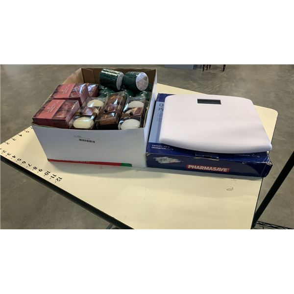 Digital scale and box of candles