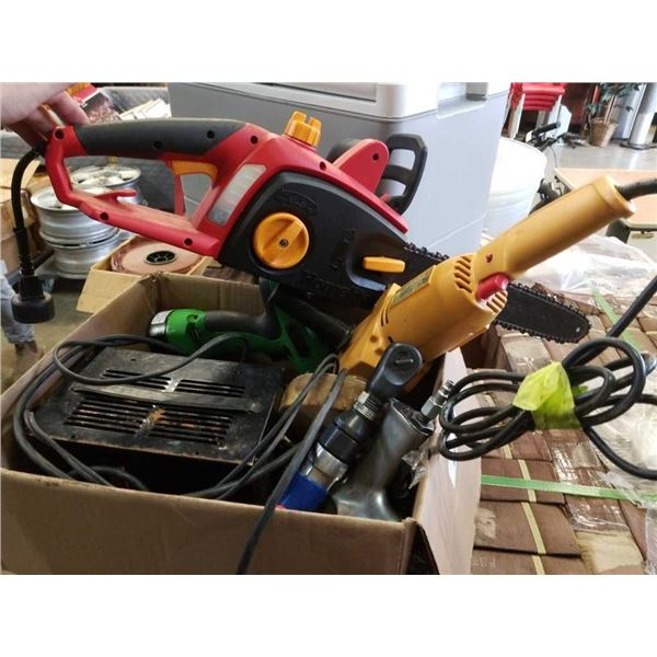 Box of power tools, chainsaw, battery charger, angle grinder with steam cleaner