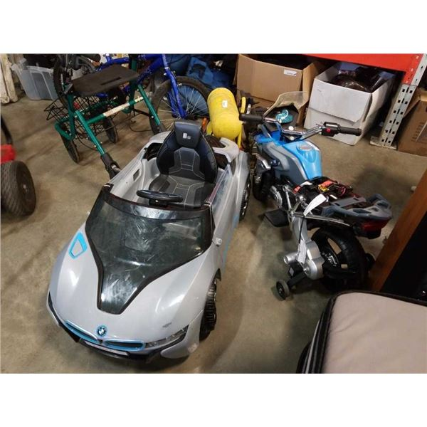6V electric ride on motocycle and BMW: BMW has battery, no charger. MOtorcycle has battery, charger,