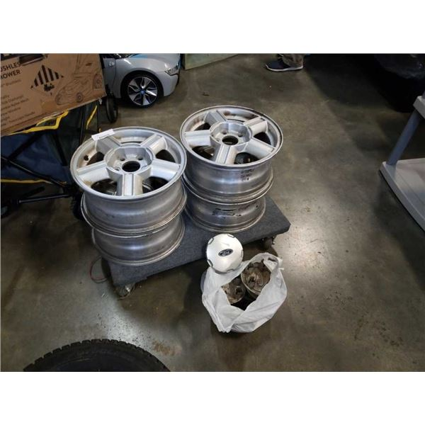 "4 ford 5 bolt 15"" wheel rims with wheel caps"