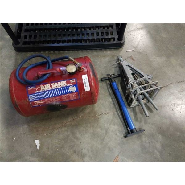 3 jackstands, bike pump and portable air tank