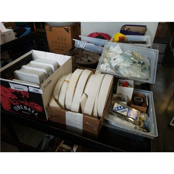 2 BOXES AND 4 TRAYS OF ELASTIC ROLLS, METAL TINS, ELECTRONIC HARDWARE