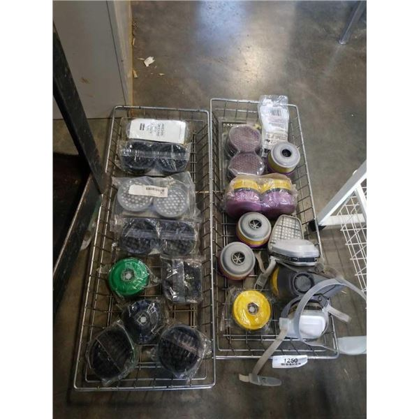 2 TRAYS OF RESPIRATOR FILTERS AND 3M RESPIRATOR MASK