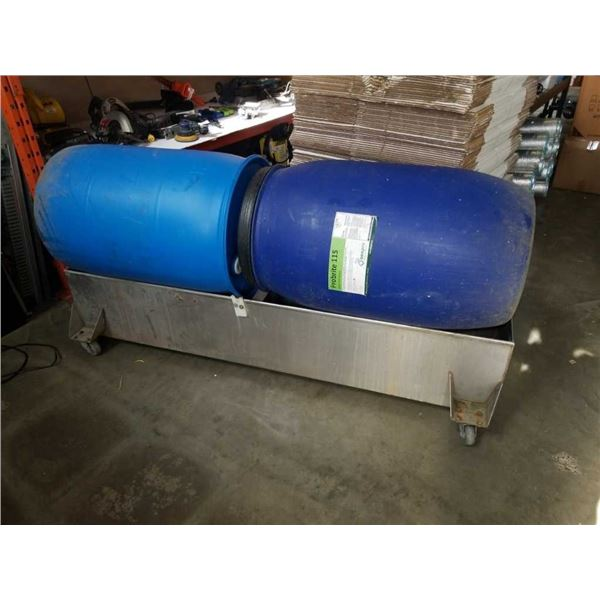 LARGE METAL TROUGH AND 2 PLASTIC DRUMS