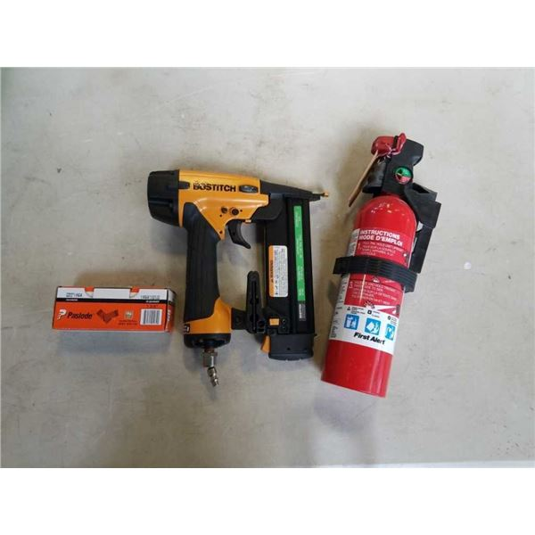 Bostitch finish nailer and fire extinguisher