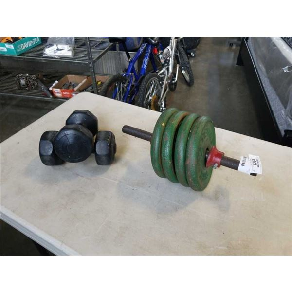 40LBS IRON WEIGHTS AND 2 WEIDER DUMBELLS