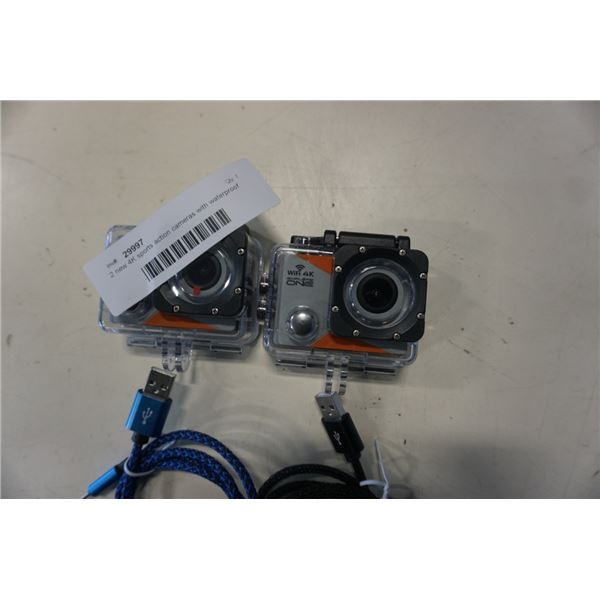2 new 4K sports action cameras with waterproof cases and charger