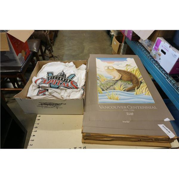 LOT OF UNFRAMED VANCOUVER CENTENNIAL PRINTS AND BOX OF VICTORIA CAPITOLS SHIRTS