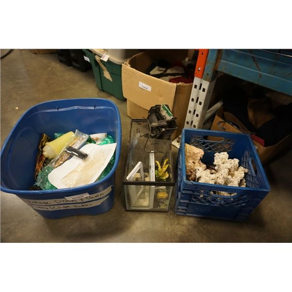 TOTE AND CRATE OF CHINA, CORAL, FISH TANK