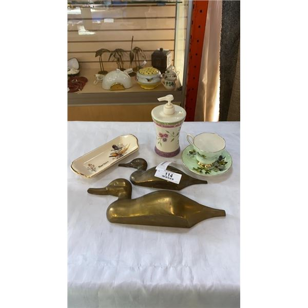 BRASS DUCKS, CHINA CUP AND SAUCER AND DISH AND SOAP DISPENSER