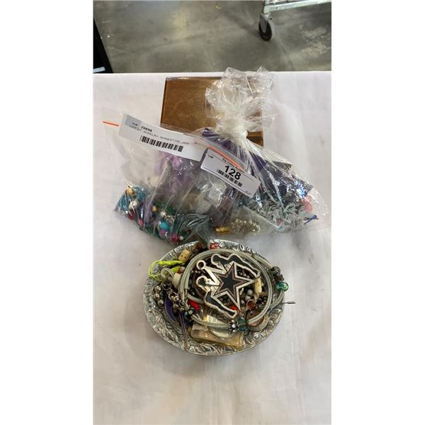 LOT OF JEWELRY- RHINESTONE, JADE LOOK AND OTHER