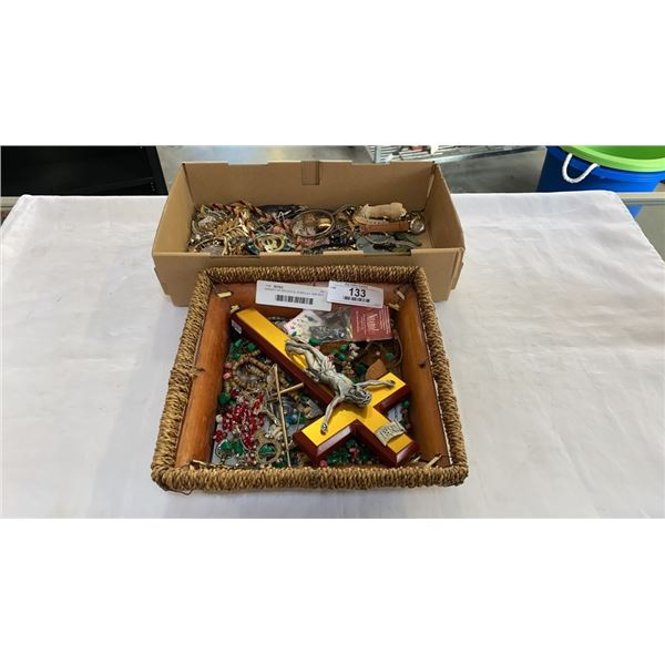 BASKET OF RELIGIOUS JEWELLERY AND BOX OF COLLECTIBLES AND JEWELLERY