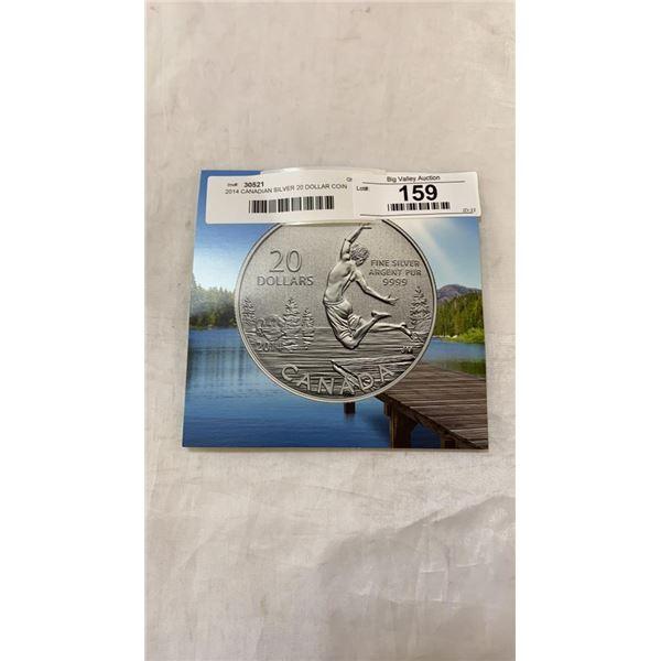 2014 CANADIAN SILVER 20 DOLLAR COIN .999 SILVER - FINE SILVER