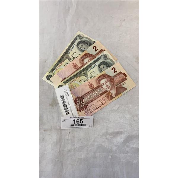 4 CANADIAN BILLS - TWO 2 DOLLAR 1986, TWO 1 DOLLAR 1973