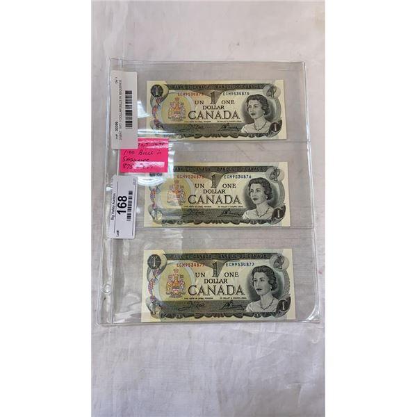 3 MINT 1973  1 DOLLAR BILLS IN SEQUENCE - LAST ISSUE OF BILLS