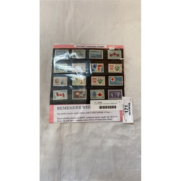 16 DIFFERENT HISTORIC STAMPS AND PACKAGE OF 100 WORLD WIDE STAMPS