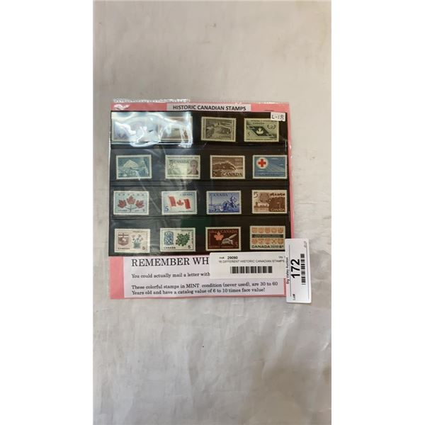 16 DIFFERENT HISTORIC CANADIAN STAMPS AND PACKAGE OF 100 WORLD WIDE STAMPS